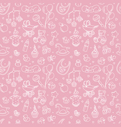 Newborn bashower seamless pattern boy girl vector