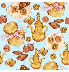 Oriental sweets seamless background vector