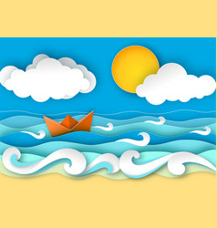 Origami boat from paper travel concept vector