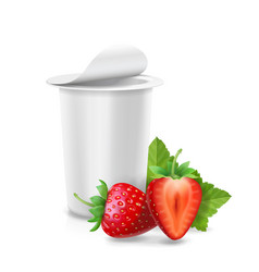 Packing yogurt box with strawberry vector