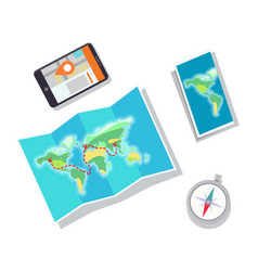paper map and mobile phone vector image