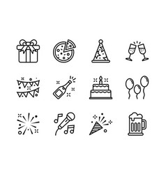 party icon set outline style symbols for website vector image