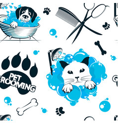 Pet grooming and washing seamless pattern vector