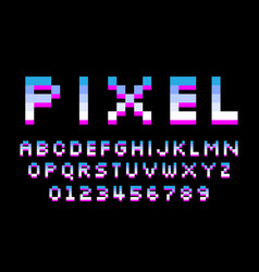 pixel font 8 bit letters and numbers vector image