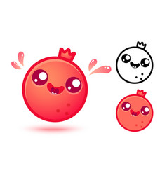 Pomegranate in kawaii style vector