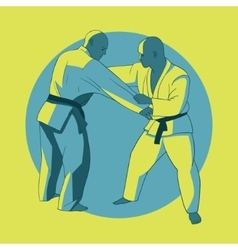 Poster with jiu-jitsu fighters vector