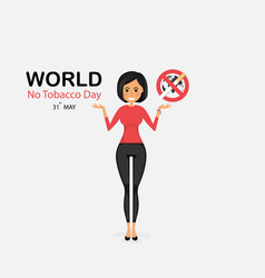 Pretty woman and quit tobacco logo design vector