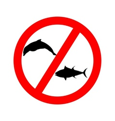 prohibition sign tuna dolphin fishing vector image