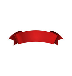 realistic red ribbon empty shine curled paper or vector image
