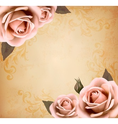 Retro background with beautiful pink roses vector