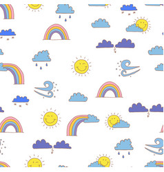 seamless pattern with cartoon weather symbols vector image