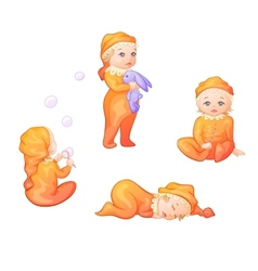 set of babies on a white background vector image