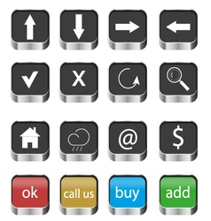 Set of web navigation buttons icons vector image