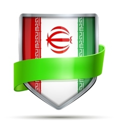 Shield with flag iran and ribbon vector