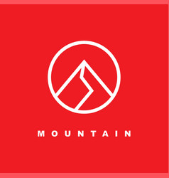 Simple mountain icon with linear style vector