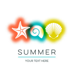 Simple summer card with seashells design vector