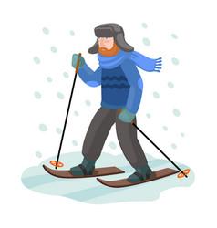 Skier on ski iconcartoon icon vector