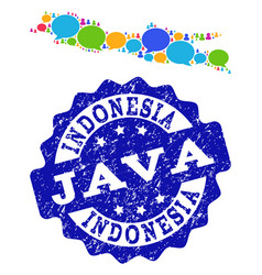 Social network map of java island with message vector