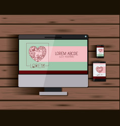 stationary templates with tech devices heart vector image