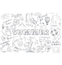 Summer hand drawn icons set vector