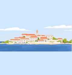summer landscape beautiful coastal town vector image