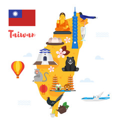 Taiwan map with cultural symbols vector