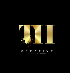 Th t h letter logo with gold melted metal splash vector