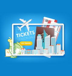 Tickets season sale travel offer template vector