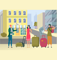 Tourists with luggage got lost in foreign city vector