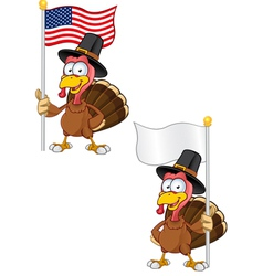 Turkey Mascot Holding A Flag vector image