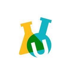u letter lab laboratory glassware beaker logo icon vector image