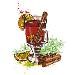 Vintage hand drawn mulled wine vector
