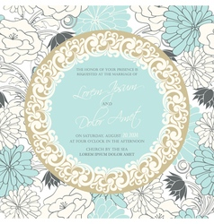 Vintage wedding invitation with round vintage vector