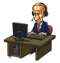 Vladimir putin in front of his computer cartoon vector