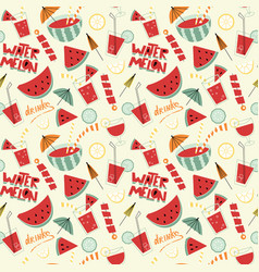 watermelon cocktails seamless pattern vector image
