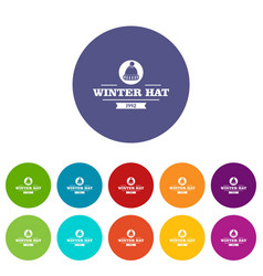 Winter hat icons set color vector
