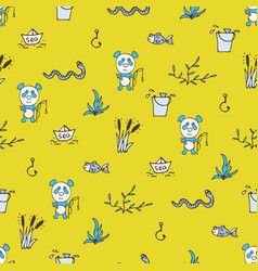 Yellow seamless pattern with the panda fishes vector