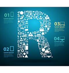 Application icons alphabet letters R design vector image vector image