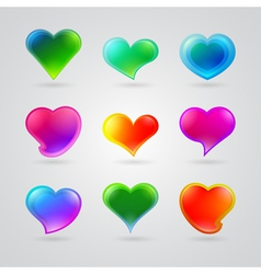 collection of different color hearts vector image vector image