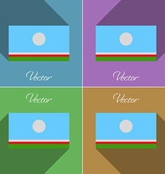 Flags Sakha Republic Set of colors flat design and vector image vector image
