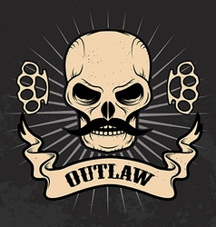 Outlaw Skull with moustache vector image vector image