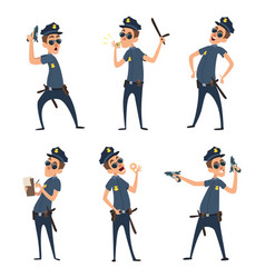 policemen in different action poses security mens vector image