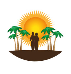 color silhouette with tropical landscape vector image vector image