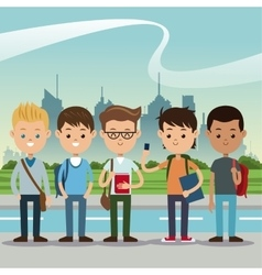 Group students boys back school urban background vector