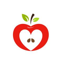 heart shaped apple logo label emblem vector image