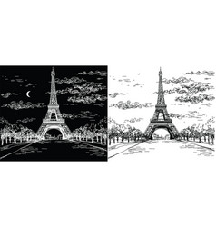 night and day landscape with eiffel tower in vector image