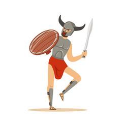 warrior character man in horned helmet running vector image vector image