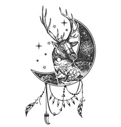 boho deer tattoo or t-shirt print design vector image