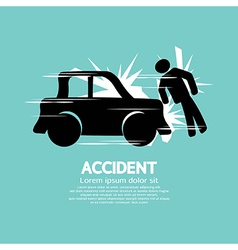 Car Accident Knocked Down A Man vector image