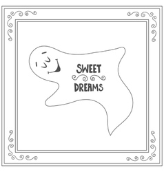 Hand drawn text sweet dreams with sleep ghost vector image vector image